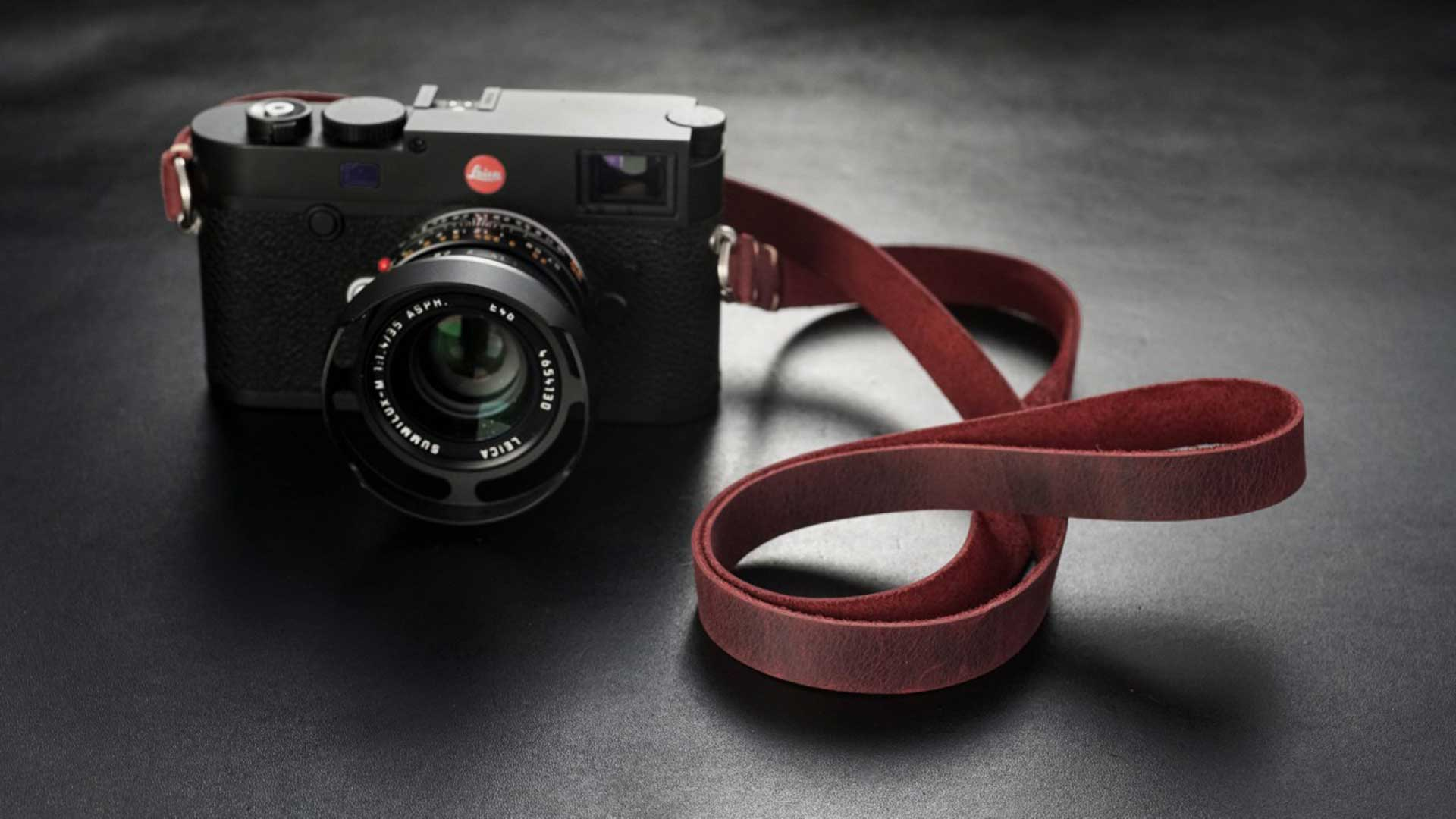 classic strap, leather camera strap, handmade leather camera strap, leica camera strap, mirrorless camera strap, handmade camera strap, dslr camera strap, deep red camera strap
