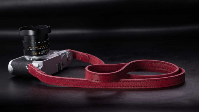 Riviera Red with Black Seams, Leather Camera Strap