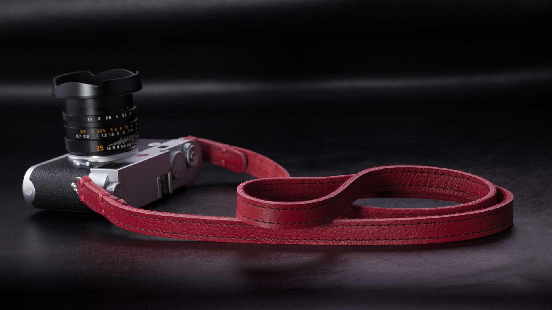 riviera strap, classic strap, leather camera strap, handmade leather camera strap, leica camera strap, mirrorless camera strap, handmade camera strap, dslr camera strap, black camera strap, red camera strap