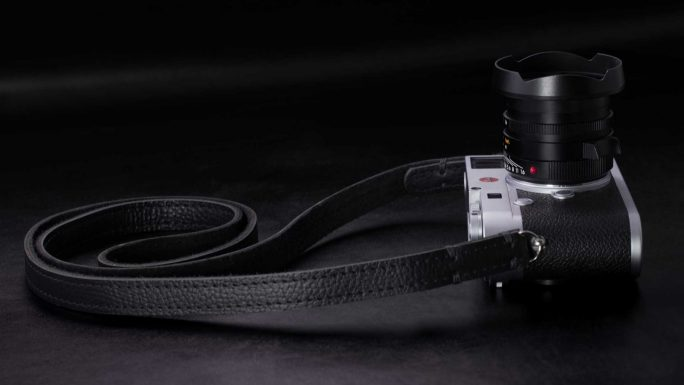 Riviera All Black Leather Camera Strap.