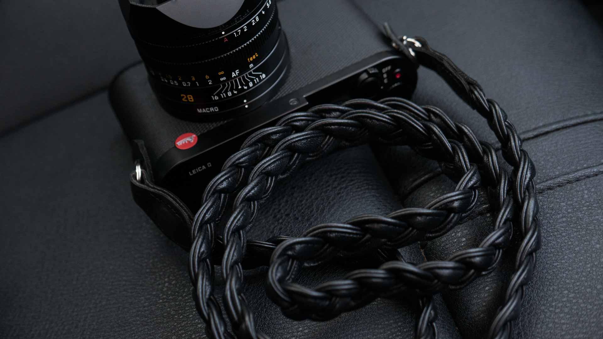 leica m strap, leather camera strap, handmade leather camera strap, leica camera strap, mirrorless camera strap, handmade camera strap, black camera strap, braided camera strap