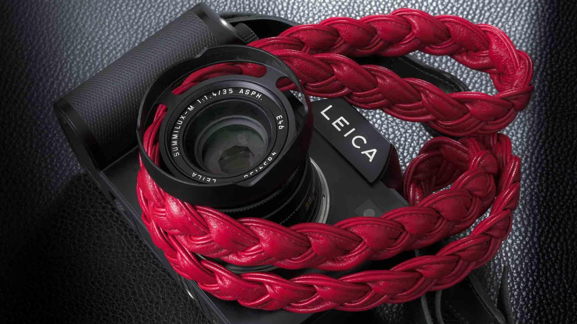 leica s strap, leica sl strap, leather camera strap, handmade leather camera strap, leica camera strap, mirrorless camera strap, handmade camera strap, red camera strap, braided camera strap