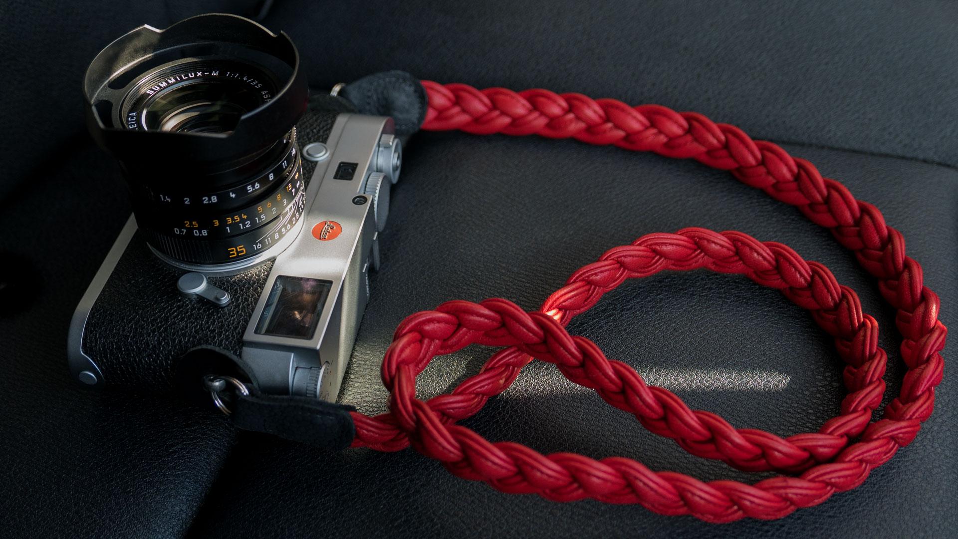 leica m strap, leather camera strap, handmade leather camera strap, leica camera strap, mirrorless camera strap, handmade camera strap, red camera strap, braided camera strap