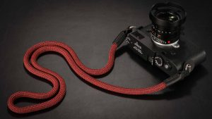 Snake Cadmium Red and Black, Rope  Camera Strap