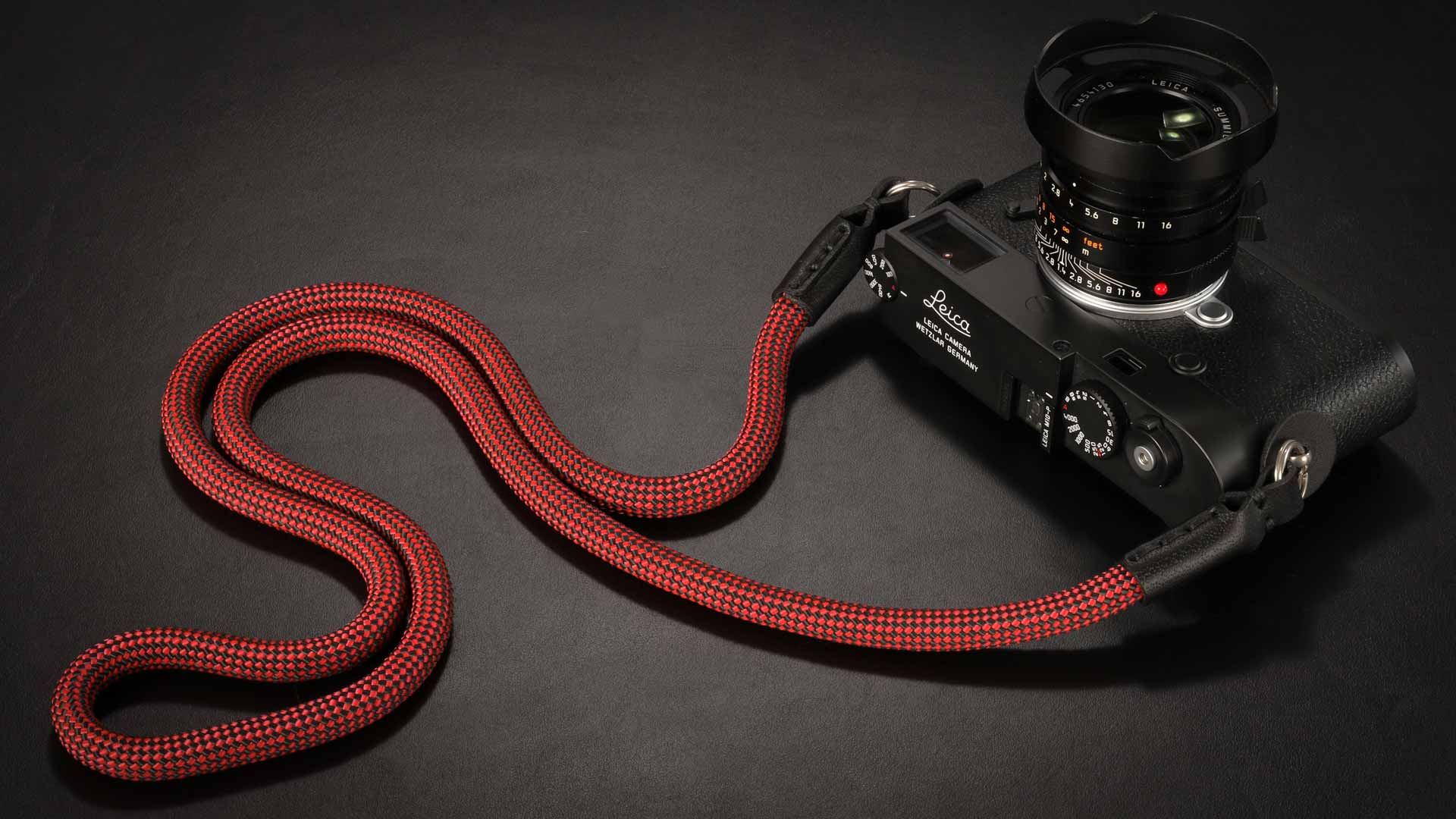 Snake Cadmium Red and Black, Rope  Camera Strap 1